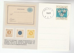 1972 Malmo SWEDEN Illus CLASSIC STAMPS Postal STATIONERY CARD Cover - Postal Stationery
