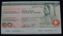MEGA RARE SWITZERLAND 50 FRANCS SWISS BANKERS TRAVELLERS REISECHECK CHEQUE DE VOYAGE ND 1980-90, VF+. - Swaziland