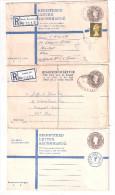Three 3x GB Postal Stationery Registration Registered Letters 2 Used 1 Unused - Entiers Postaux