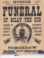 OLD West  - Replique Exacte En Papier Parchemin -  Avis De Décès De Billy The Kid Du 15 Juillet 1881 - Historische Dokumente