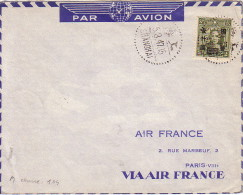 CHINE - SHANGHAI - LE 5-3-1947 - LETTRE PAR AVION POUR PARIS - VERSO CACHET SPECIAL AIR FRANCE. - Chine