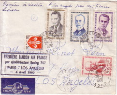 NORD - SOLESMES - 1er LIAISON PARIS LOS-ANGELES PAR BOEING 707 - BEL AFFRANCHISSEMENT SERIE RESISTANT - 28-3-1960. - Luchtpost