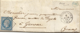 014. LAC N°14 Bleu-lilas - Ecrite à Le Pizou - Càd Montpont Sur L'Isle (DORDOGNE) - OR En Bleu - 1858 - R - Storia Postale