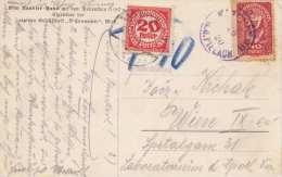 Österreich 20 Heller Nachporto 1920 + 40 Heller Marke Auf Ak Otto Kandler Haus - Postage Due