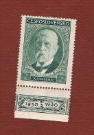 CECOSLOVACCHIA (CZECHOSLOVAKIA) - YV. 270 - 1930 80^ ANNIV.PRESIDENT MASARYK (2 K WITH LABEL)  -  MINT ** - Cecoslovacchia