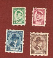 CECOSLOVACCHIA (CZECHOSLOVAKIA) - YV. 292.295 - 1935 85^ ANNIV. PRESIDENT MASARYK (COMPLET SET OF 4)- UNUSED * - Czechoslovakia
