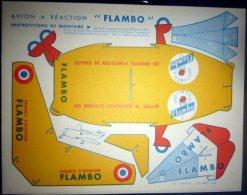 """DECOUPAGE AVIATION TROIS PLANCHES IDENTIQUES DE DECOUPAGE ANCIEN  FABICATION D´UN AVION A REACTION """"FLAMBO"""" - Other Collections"""