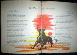 RICARD CORRIDA PLAQUETTE PUBLICITAIRE EDITEE PAR L'APERITIF RICARD A LA GLOIRE DE LA CAMARGUE 5 BELLES LITHOS - Advertising
