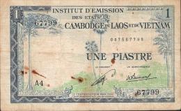 INDOCHINA  P100  1  PIASTRE = 1 KIP   LAOS  1954       FINE - Indochine