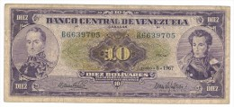 Venezuela, 10 Bs 1967,  USED, See Scan. - Venezuela