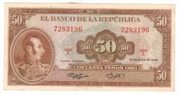 Colombia 50 Pesos 1958, AUNC/UNC, Rare!!! , Free Ship. To USA. - Colombia