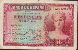 SPAIN  P86  10  PESETAS  1935  Serie B   VF - [ 2] 1931-1936 : Repubblica