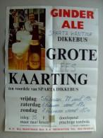 Affiche poster  GINDER ALE brouwerij MARTINAS Merchtem grote kaarting sparta Dikkebus 5-7/02/1988, drankc Bacquaert