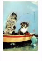 Carte Fantaisie Chat - Chats à La Pêche Bateau Ligne Poisson - Les Animaux De Jean Tourane N°12 Yvon - Cats
