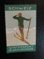 GRAUBUNDEN Wintersport Snow Sport Sky Ski Skiing Vignette Poster Stamp Suisse Switzerland - Schweiz