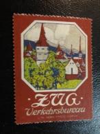 ZUG Verkehrsbureau Castle Tower Vignette Poster Stamp Label Suisse Switzerland - Schweiz