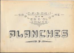 7 PLANCHES MANUSCRITES C.P.S.O.C.I. DES SABLES D'OLONNE  - ENGINS - BONNE ETUDE D'UN MILITAIRE 14e R.T.A. - Libros, Revistas & Catálogos