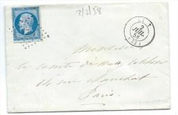 N° 14 BLEU NAPOLEON SUR LETTRE / LIZY SUR OURCQ SEINE ET MARNE  POUR PARIS / 2 JUIL 1858 - Marcophilie (Lettres)