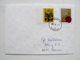 cover sent from Lithuania Kaunas 1995 Grand Duke Vytautas art painting