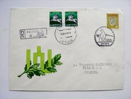 cover sent from Lithuania Kaunas 1994 special cancel registered polar bear animal
