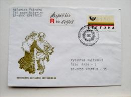 cover sent from Lithuania Kaunas 1996 special cancel kupiskis registered atm stamp folk dance