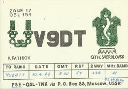 QSL CARD   --  RUSSIA  --   SVERDLOVSK  --   UKRAINE - QSL-Karten