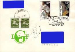Lithuania Litauen Lituanie 1994 (11) Nocturnal Animals - Dormouse, Bat (addressed FDC)