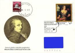 Lithuania Litauen Lituanie 1995 (12) 250th Birthday of Pranciskus Smuglevicius  Painting (addressed FDC)