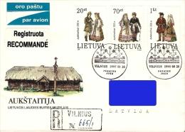 Lithuania Litauen Lituanie 1995 (06) National costumes Aukstaitija (addressed FDC)