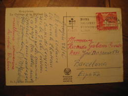 LAUSANNE 1956 To Barcelona Spain Mountain Mountains Gruyeres Chateau Moleson Post Card Switzerland Suisse - Suisse