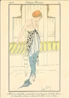 (Thème Mode Femme) - Costumes Parisiens - Robe De Satin Bleu Recouverte D'une Tunique........ - Moda