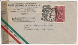 Mexico 17.06.1944 - Lettre Cover Brief Pour Philadelphia - Examined By Censor - Censure - Mexico