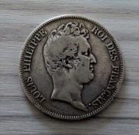 TRES RARE 5 Francs TYPE TIOLIER SANS LE I, TRANCHE EN CREUX 1830 B ARGENT SILVER - France