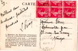 VERCEL (25)  SEMEUSE 5c . BLOC DE 6 à CHEVAL.1937. - 1906-38 Semeuse Camée