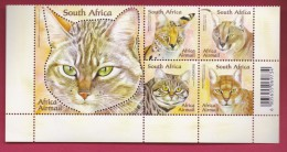 SOUTH AFRICA, 2011, Mint Never Hinged, Sheet Of Stamps , African Wild Cats, Sa 2161-2165, #9236 - Unused Stamps