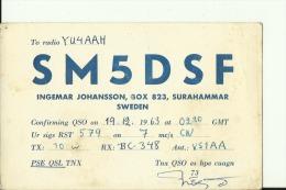 QSL CARD   --   SWEDEN  --  1963 - QSL-Karten