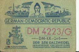 QSL CARD   --   GERMAN DEMOCRATIC REPUBLIC  --  DDR  --  DEUTSCHE DEMOKRATISCHE REPUBLIK  --  JENNY MARX - QSL-Karten