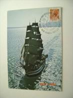 NAVE AMERIGO  1981 TIMBRO MAXIMUM REGGIO CALABRIA  50° ANNIVERSARIO  NAVE SCUOLA AMERIGO VESPUCCI SHIP  MARINA  MILITARE - Warships