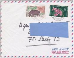Z3] Enveloppe Cover Cameroun Federal Cameroon Hippotame Hippopotamus Fleur Flower - Cameroon (1960-...)