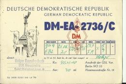 QSL CARD   --   GERMAN DEMOCRATIC REPUBLIC  --  DDR  --  DEUTSCHE DEMOKRATISCHE REPUBLIK - QSL-Karten