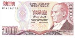 Turkey - Pick 201 - 20.000 Lira 1988 - AUnc - Turquie