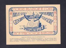 1er Congres Philatelique De L' Ouest Mamers 1939 Carte Postale Et Cachet Commemoratif - Marcophilie (Lettres)