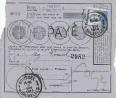149/24 - Bon De Poste Griffe Et Cachet TIRLEMONT 2 - 31 VII 1914 - TP Pellens 25 C BRUXELLES 8 VIII 1914 - WW I