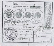 151/24 - Bon De Poste Griffe Et Cachet OHEY 11 VIII 1914 - PLUS RARE Sans Timbres - Encaissé  BRUXELLES 14 VIII 1914 - WW I