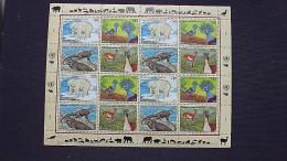 UNO-Genf 305/8 KB/sheet **/mnh, Gef. Arten: Eisbär, Blauschopf-Krontaube, Meerechse, Guanako - Geneva - United Nations Office