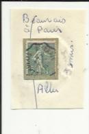 1 Timbre_ Tampon Convoyeurs--Beauvais--Paris_Semeuse Lignée 15cts (1)__Aller - Marcophily (detached Stamps)