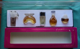 "Coffret ""Mini Prestige Luxe"", Eau De Toilette: Dunhill, Chantilly, Mario Valentino, Cananga, Tristano Onofri - Miniatures Femmes (sans Boite)"