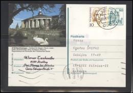 GERMANY Deutschland D BRD Postcard 0715 ??? Cancellation Personalities Women Fauna Birds Swan Stamped Stationery - Storia Postale