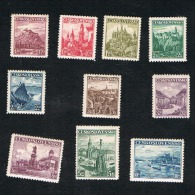CECOSLOVACCHIA (CZECHOSLOVAKIA) - YV. 311.319 -  / 1936  CURRENT SERIE (COMPLET SET OF 10 STAMPS) - MINT ** - Cecoslovacchia