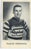 """PERSONNAGES HISTORIQUES - CPA - Raphaël Géminiani, Coureur Cycliste Français - CYCLES """"RAPHAËL GEMINIANI"""" Montluçon - Sportifs"""